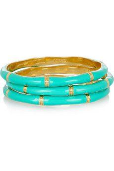 Gold-Tone Brass-Turquoise enamel bangles.