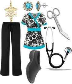 Classy Black & Turquoise Nurse Scrub Set, created by samanthanurse on Polyvore