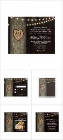 Carved Initials Old Oak Tree Wedding Invitations. Carved Initials Old Oak Tree Wedding Set - features an old wood background with an old oak tree and string lights. Glitter Wedding Invitations, Engagement Invitations, Oak Tree Wedding, Wedding Set, Trendy Wedding, Tree Wallpaper Nursery, Purple Mason Jars, Wood Invitation, Invites