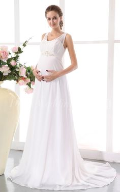 Simple Chiffon Empire Maternity Wedding Dress With Belt, white long dresses for pregnant women. More cheap wedding gowns, bridal gowns, wedding dress for sale follow us now. #DorisWedding.com