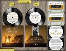 Image of 5 Vinyl Record Music Wedding Invitations