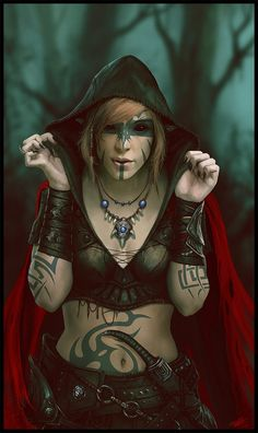 f Rogue Arcane Trickster Leather Armor Bracers Cloak Necklace Dagger deciduous forest Autumn evening Like my red cape by Peter-Ortiz lg Dark Fantasy, Fantasy Women, Fantasy Rpg, Dnd Characters, Fantasy Characters, Female Characters, Dungeons And Dragons, Gothic Horror, Fantasy Inspiration