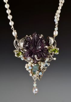 one of kind ss pendant with carved amethyst, opal, peridot on fresh water pearls www.hformanbarrett.com