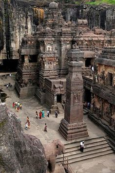 The rock hewn temple of Kailasa in Ajanta Ellora cave area, India. More Photo:…