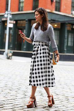 gingham skirt + platforms