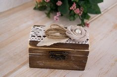 Rustic RIng Box I Thee Wed RIng Pillow Holder by HappyWeddingArt