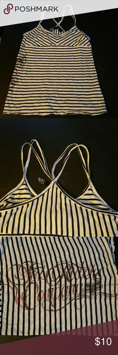 Fox Striped Tank Black & White striped tank top, built in bra. Tag is worn but it is a small. Fox Tops Tank Tops