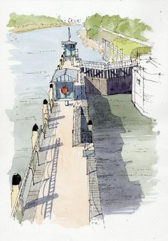 Part of Richmond Lock sketched from the footbridge. Situated on the River Thames in south west London it is a Grade II* listed structure and is the furthest downstream of all the Thames locks and was formally opened in 1884 by the then Duke of York (who later became King George V) by John Edwards via Urban Sketchers group on FB.