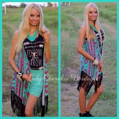 "https://instagram.com/ladycherokeeboutique RESTOCK!! Painted Desert  TURQUOISE & FUCHSIA BLACK FRINGE TRIBAL PRINT VEST ✨Chandler is wearing a Small✨ Price: $43.00, Free Shipping. Qty: 2-Small, 4-Medium, 3-Large Please comment ""Sold"" State, Size, and quantity needed as well as email to purchase. Also, you must let us know what state you live in, before we can invoice you! Please note : Invoices are cancelled after 24 hours!!"