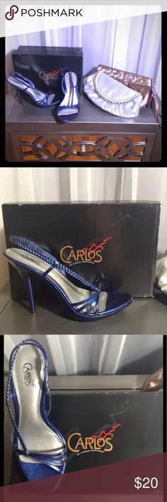 Carlos Santana blue high heels with braided detail These heels will catch attention anywhere with their asymmetrical braided detail and multi strap toe box. Slip on style. In box. All man made materials. Made in China. Carlos Santana Shoes Heels