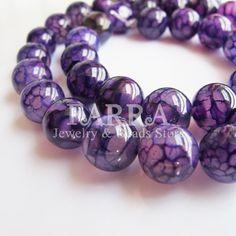 purple dragon agate beads 15 inch strand 10x10mm round by FARRAgem, $9.80