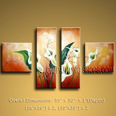 Tetraptych Contemporary Wall Art Floral Painting Lily Flowers Artwork. In Stock $128 from OilPaintingShops.com @Bo Yi Gallery/ ops2503