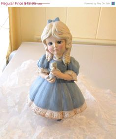 On Sale Vintage 1970s Hand Painted Figurine Little Girl in Blue Dress and Petticoats Holding a Gray Kitten