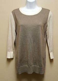 Banana Republic SMALL brown beige sweater Pullover 100% Merino Wool Thin Knit #BananaRepublic #Pullover #Casual