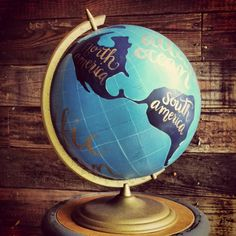 Antique Globe, Painted and Lettered.