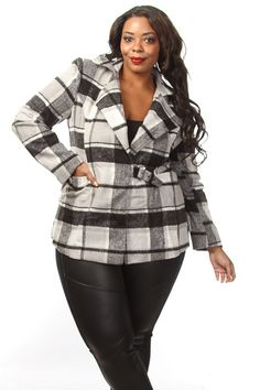 Get ready for winter with this plus size plaid coat! It features button down inseam, a buckle down waist, and side pockets. Soft, non-stretch material Comfort fit