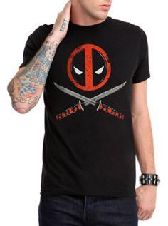 Marvel Deadpool Logo Crossed Swords T-Shirt