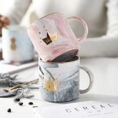 Creative and Chic Ceramic Marble Porcelain Coffee Pink Mug Tea Milk Cup Gold Crown Couple Gift Cool Coffee Cups, Coffee Mugs, Branded Mugs, Photography Tea, Gold Milk, Milk Cup, Gold Crown, Cup Design, Cute Mugs