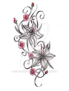 Cherry Blossom Flower Drawing Tattoo Lily Cherry Blossom Tattoo