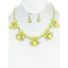 Selling this Yellow stone statement necklace set NEW in my Poshmark closet! My username is: jilld731. #shopmycloset #poshmark #fashion #shopping #style #forsale #Jewelry