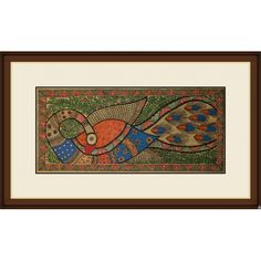 An elaborately rendered peacock motif speaking volumes of the expertise of the Madhubani artist, through its impeccable embellishment and vibrant colours. The foliage in the background provides just the right contrast to the motif, as does the...