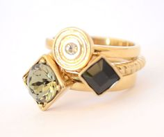 Ladies Rings Set of 3 Gold Plated Stone Thin Band Stainless Steel Fine New 10 T