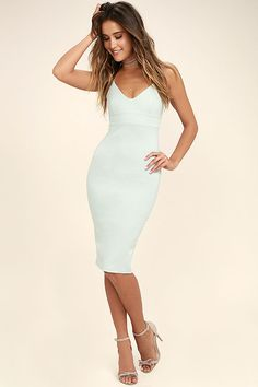 Lulus Exclusive! Some things are better kept a secret, so feel free to leave them wondering where you discovered the Don't Tell 'Em Light Blue Bodycon Midi Dress! Feeling fierce will come easily in this stretch knit number, with skinny spaghetti straps and a darted triangle bodice above a banded waist. The midi length skirt (with kick pleat at back) creates a sleek bodycon look, complementing your curves for an elegant finish. Hidden back zipper.