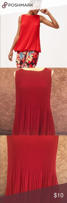 Ann Taylor Loft Pleated Red Shell Sleeveless Top Perfect condition No Trades! Offers Welcome! Questions Welcome! All my items are new or in like new condition. I try my best to look for any flaws before listing an item. If ever I list an item with flaws, I will make sure to point them out and post a picture.  Shipping Charges are CRAZY!!! So bundle and make it worth it!!! LOFT Tops Blouses