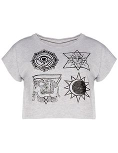 Grey Star Elephant Print Crop T-Shirt -SheIn(Sheinside)