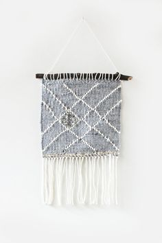 Grey Lined Woven Wall Hanging by hellohydrangea on Etsy