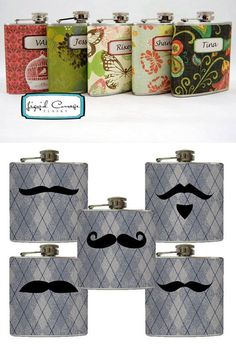 Flasks - the mustaches... so cute.