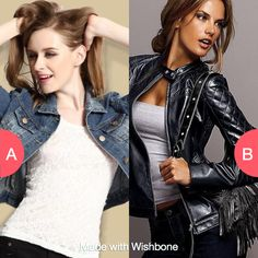 Denim or leather jackets? Click here to vote @ http://getwishboneapp.com/share/3153322