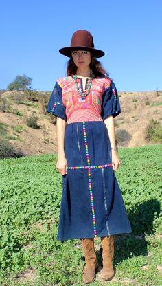 Vintage Guatemalan Handmade Indigo Dress