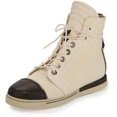 Stuart Weitzman Zipit Leather High-Top Sneaker ($298) ❤ liked on Polyvore featuring shoes, sneakers, bone, platform high tops, high top platform sneakers, lace up sneakers, leather sneakers and high top shoes
