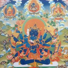Tenzin Rabgyal's Guhyasamaja deity, from the Guhyasamaja Tantra (Tantra of the Secret Community), one of the Highest Yoga Tantra systems of esoteric buddhism  #blue #buddha #buddhism #tibet #traditional #thangka #tantra #yabyum #yidam