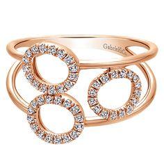 14k Pink Gold Diamond Fashion Ladies' Ring   Gabriel & Co NY   LR50932K45JJ