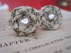 Ch.5 Vintage Paper Earrings,Paper Earrings, Vintage Paper Earrings,Vintage Paper Jewelry,Book Pages Earrings,Eco Friendly Studs, Book Theme by VintageOoakDesigns on Etsy https://www.etsy.com/listing/84527010/ch5-vintage-paper-earringspaper-earrings