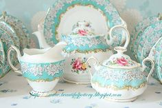 Love The Color Of This Tea Set.....