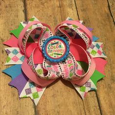 """One of a kind!! 5"""" Color me happy hair bow!!! Claim it now!! #bowtifulblessings #bbgifts #hairbow #bow #tbb #oneofakind #handmade #etsy #etsyseller #etsyshop #etsyusa #supportsmallbusiness #shopLIBERTY #shoplocal #shopsmall #color #colorful"""