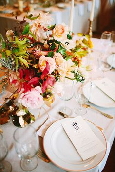 The rustic wedding event trend is always going strong, so every single day I recognize even more unique projects and inspiration floating around the website. Autumn Wedding, Rustic Wedding, Wedding Tables, Floral Wedding, Wedding Flowers, Wedding Bells, Flower Decorations, Wedding Decorations, Table Setting Inspiration
