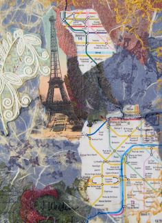 4 x 6 Collage on mat board using manufactured papers, and acrylic paint.