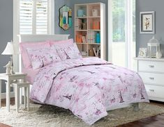 Eiffle Pink Printed Duvet Quilt Cover Bedding Set – Linen and Bedding