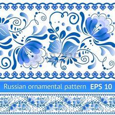 Nacional ruso azul estampado de flores Foto de archivo
