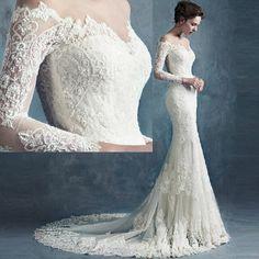 Vestido De Noiva Sereia 2015 Vintage Lace Mermaid Wedding Dress Long Sleeve Sexy Bridal Gowns Chapel Train China W4031