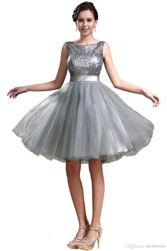 Wholesale Cocktail Dresses - Buy 2014 New Sexy Sequin Grey Bateau A-Line Short Cocktail Dresses With Silk Sash Mini Homecoming Dress Short P...
