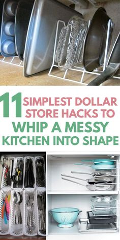 Learn how to DECLUTTER your KITCHEN with KITCHEN ORGANIZATION HACKS from the dollar store. First, learn how to get rid of clutter on counters, cabinets and drawers, then tips on smart layout by zones to keep countertops and cupboards clutter free. Easy ideas you can DIY on a budget to keep utensils, pots, pans, Tupperware, spaces, etc super organized #organization #organisation #storage #tinykitchen #declutter