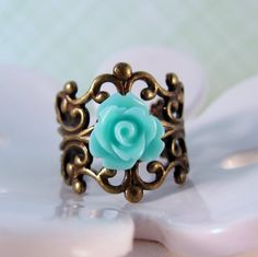 Light turquoise/teal rose and antique bronze ring  by ShyofPerfect, $5.00