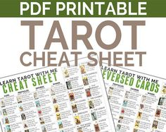 Printable PDF Tarot Card Cheatsheet Includes by LearnTarotWithMe