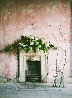 BASH Volume One image.ie/weddings #fireplace #greenery #light Photo by @katiestoops Styling @hiphip  flowers by Mark Grehan www.thegarden.ie