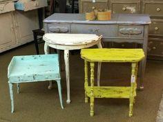Shabby Chic Distressed Table  Yellow $38  White $42  Pale Green $70  Dressing Table $99  Dallas Vintage Market Booth #300   Lula B's 1010 N. Riverfront Blvd. Dallas, TX 75207   Like u